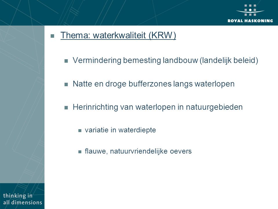 Thema: waterkwaliteit (KRW)
