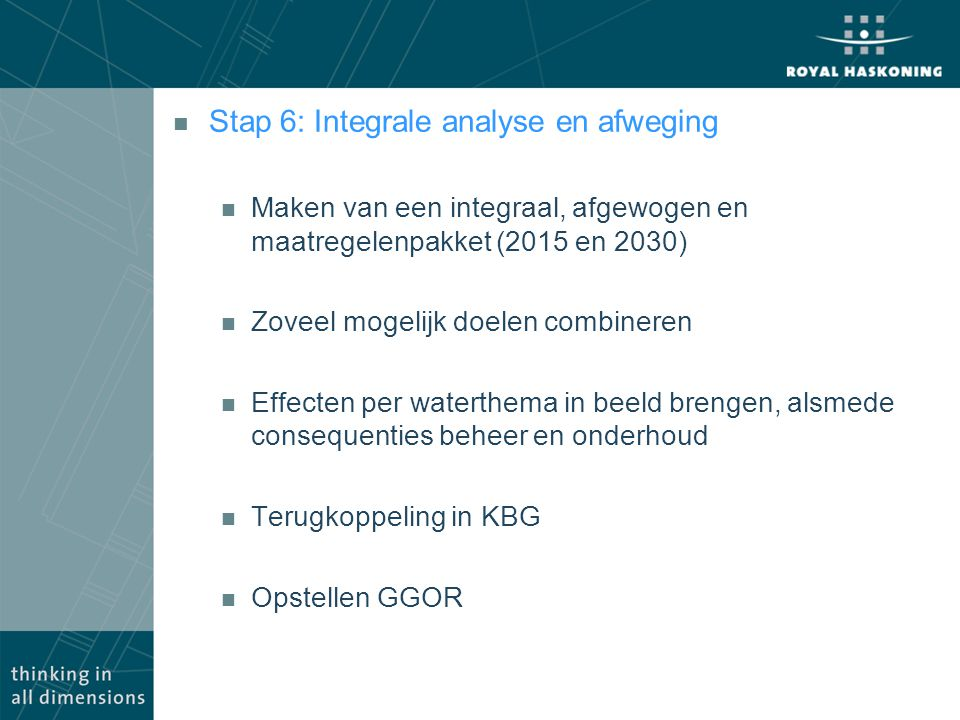 Stap 6: Integrale analyse en afweging
