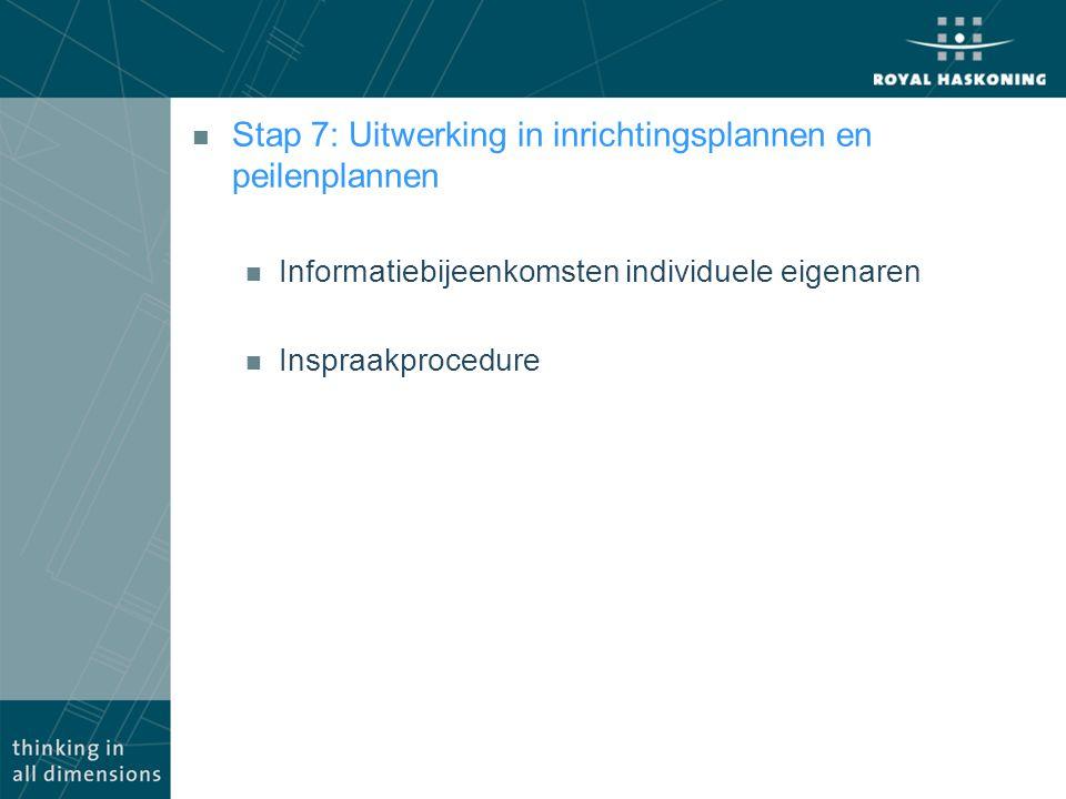 Stap 7: Uitwerking in inrichtingsplannen en peilenplannen