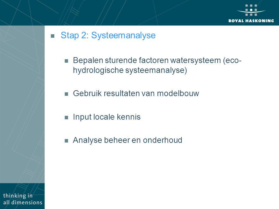 Stap 2: Systeemanalyse Bepalen sturende factoren watersysteem (eco-hydrologische systeemanalyse) Gebruik resultaten van modelbouw.