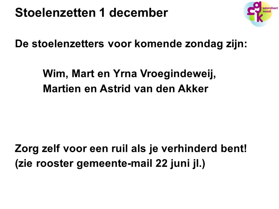 Stoelenzetten 1 december