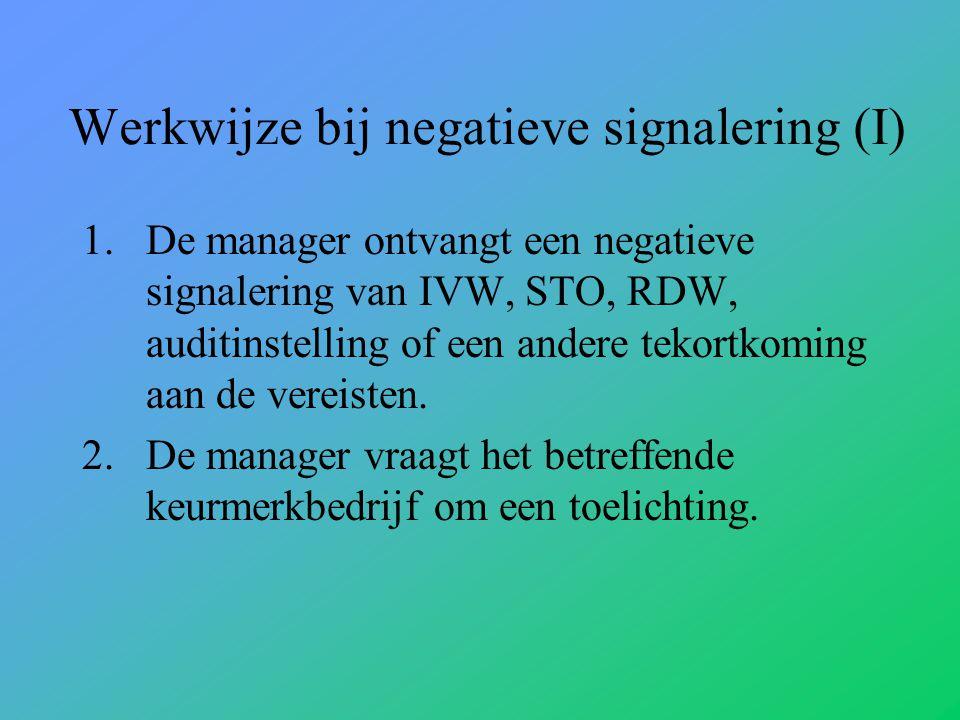 Werkwijze bij negatieve signalering (I)