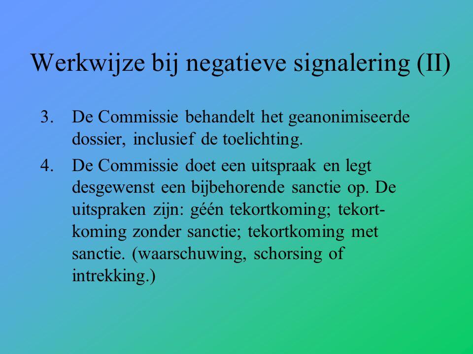 Werkwijze bij negatieve signalering (II)