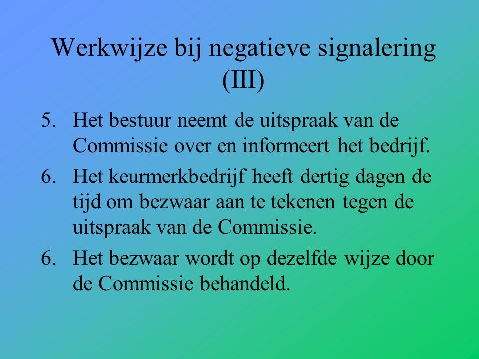 Werkwijze bij negatieve signalering (III)