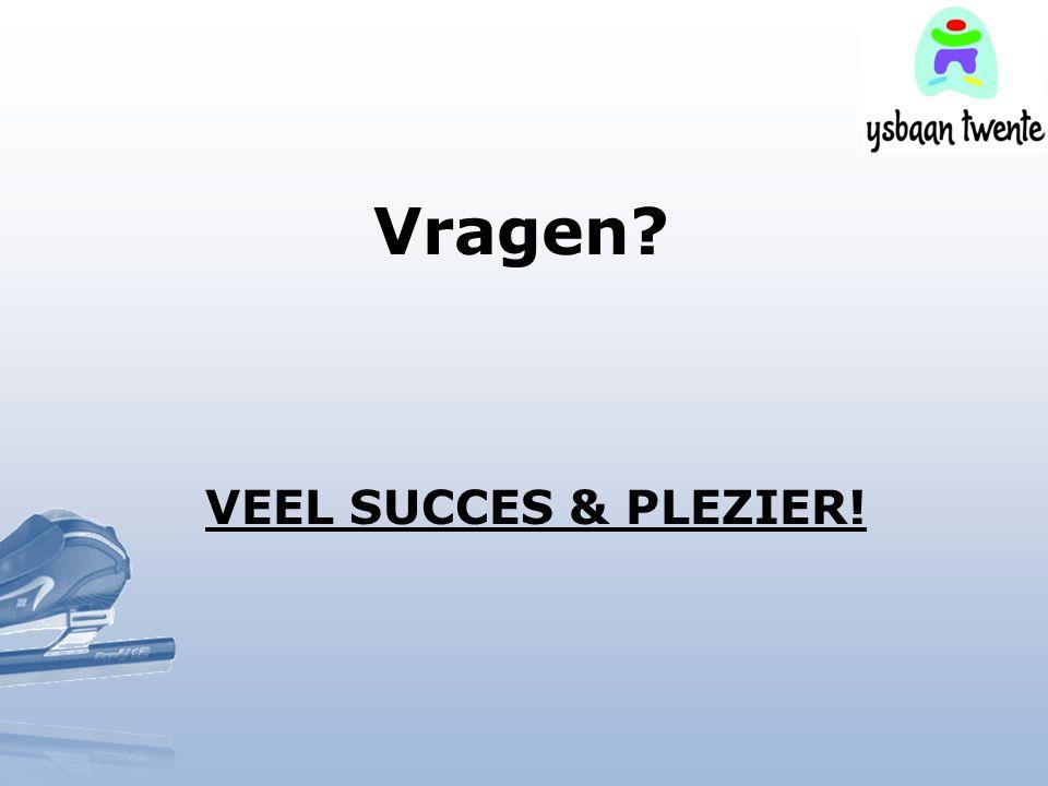 Vragen VEEL SUCCES & PLEZIER!