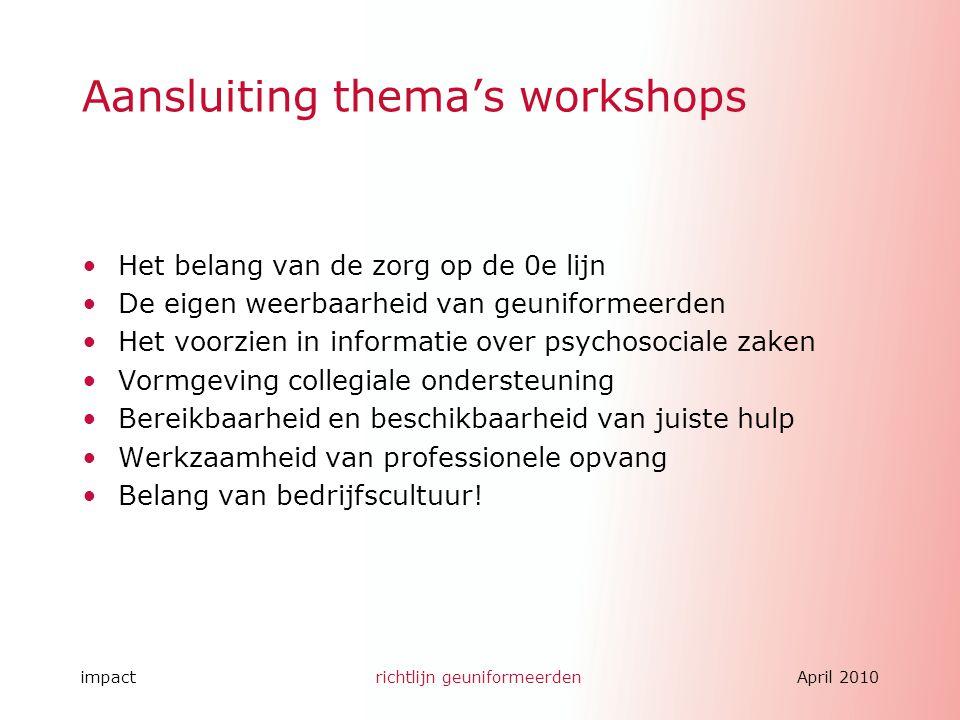 Aansluiting thema's workshops