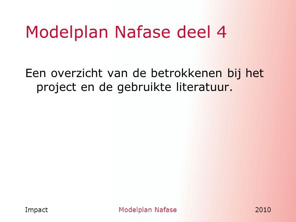 Modelplan Nafase deel 4 Een overzicht van de betrokkenen bij het project en de gebruikte literatuur.