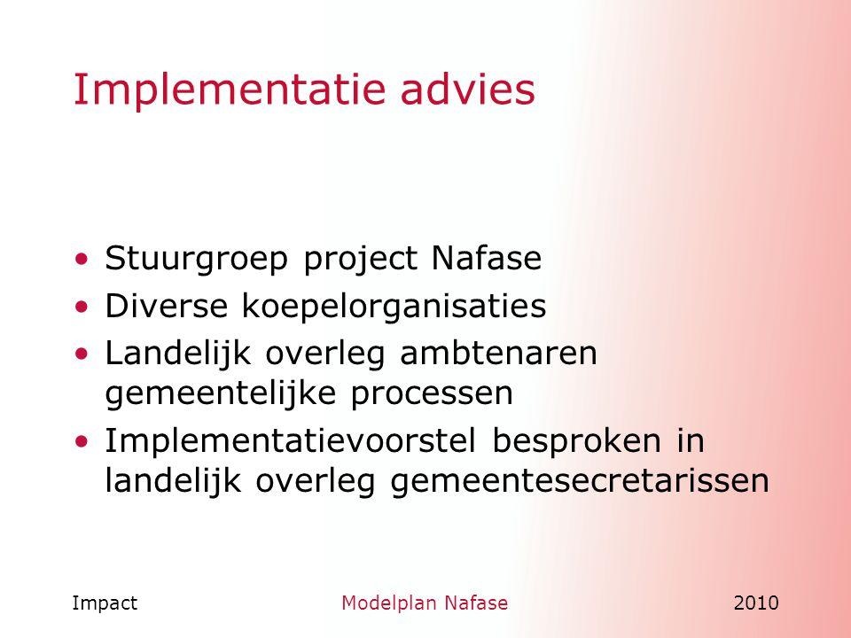 Implementatie advies Stuurgroep project Nafase