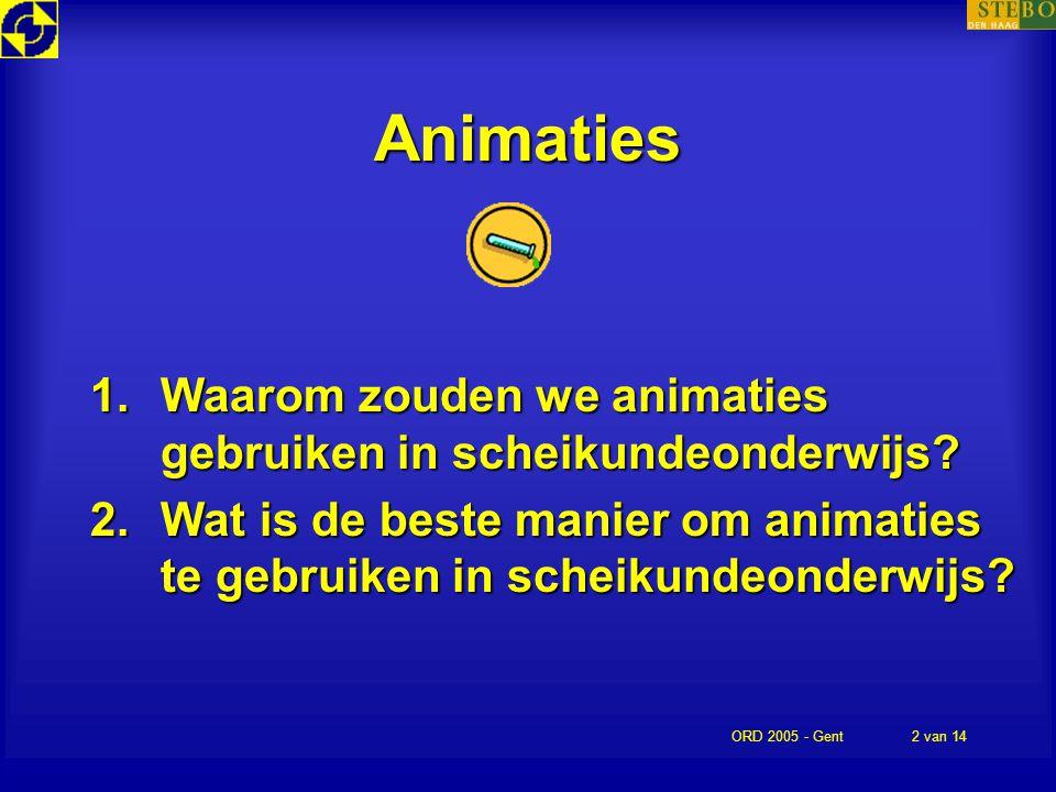 Animaties Waarom zouden we animaties gebruiken in scheikundeonderwijs