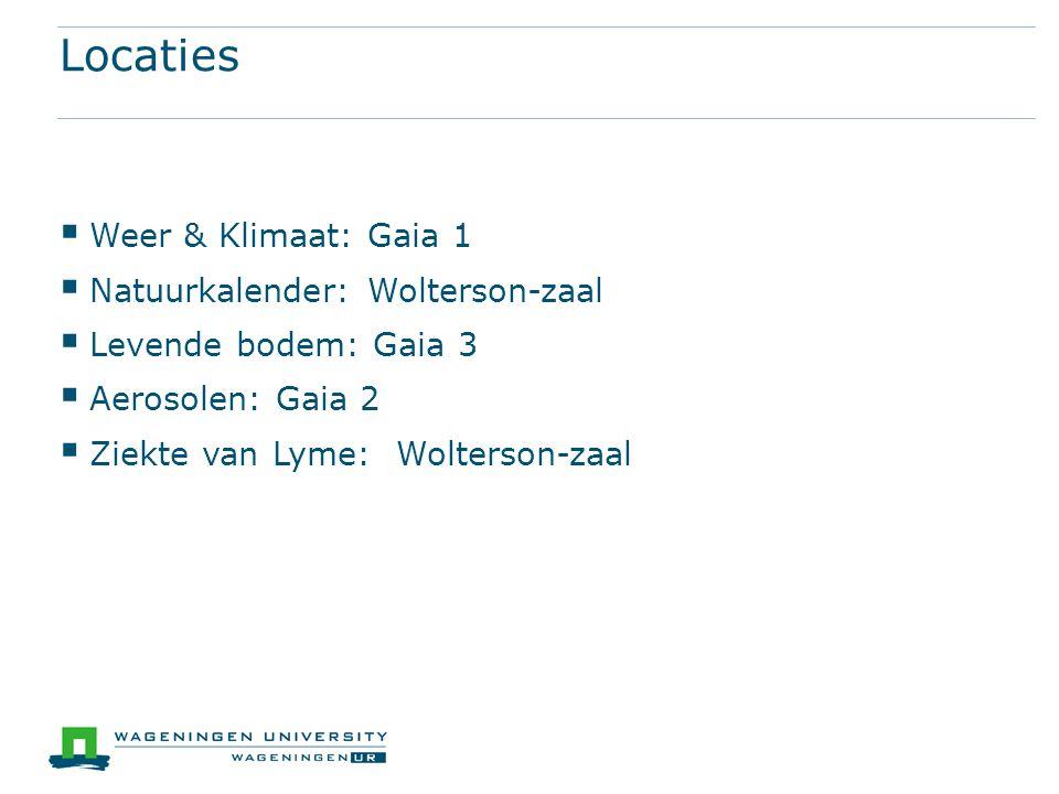 Locaties Weer & Klimaat: Gaia 1 Natuurkalender: Wolterson-zaal