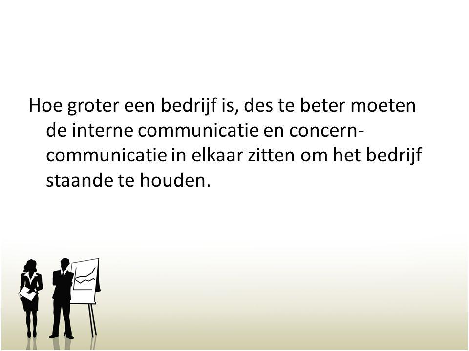 Hoe groter een bedrijf is, des te beter moeten de interne communicatie en concern-communicatie in elkaar zitten om het bedrijf staande te houden.