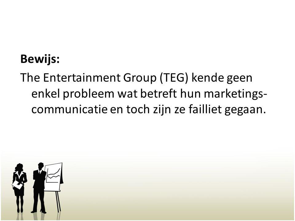 Bewijs: The Entertainment Group (TEG) kende geen enkel probleem wat betreft hun marketings-communicatie en toch zijn ze failliet gegaan.