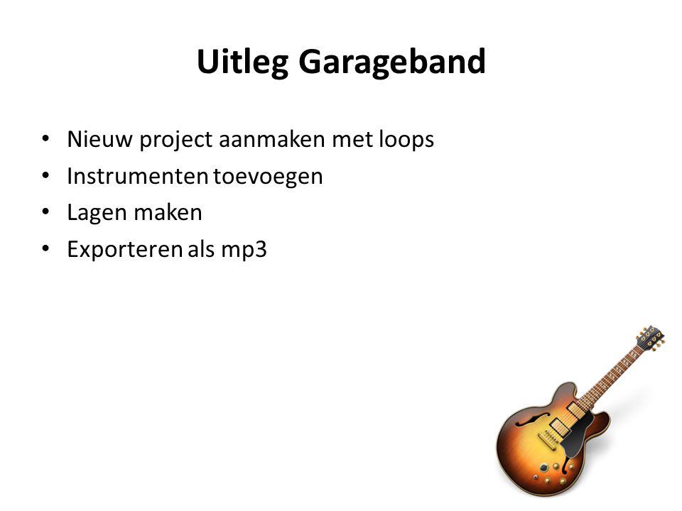 Uitleg Garageband Nieuw project aanmaken met loops