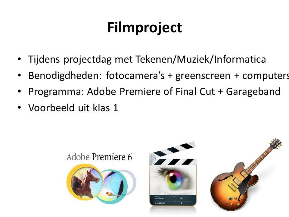 Filmproject Tijdens projectdag met Tekenen/Muziek/Informatica