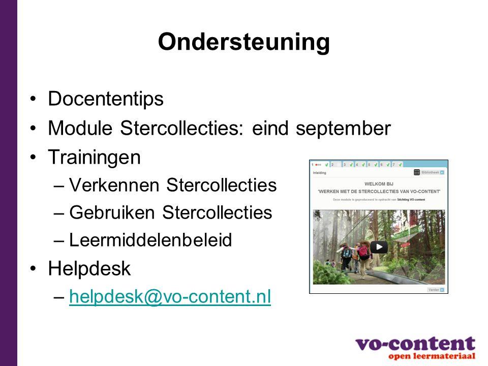 Ondersteuning Docententips Module Stercollecties: eind september