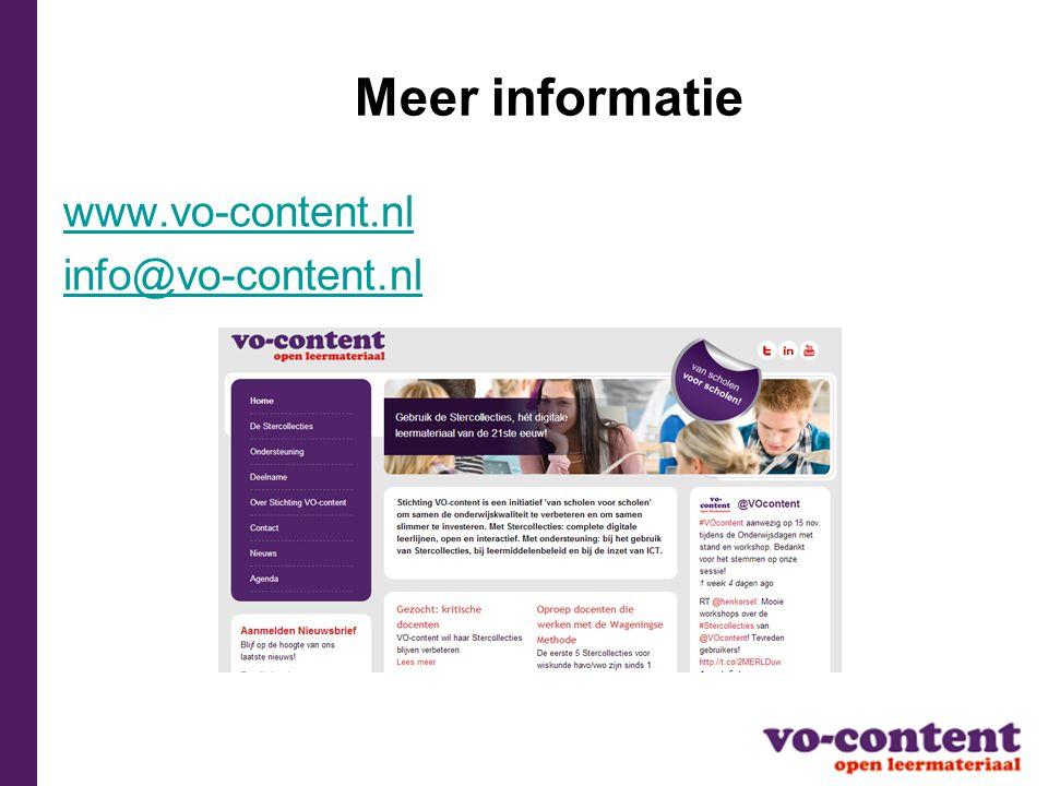 Meer informatie www.vo-content.nl info@vo-content.nl