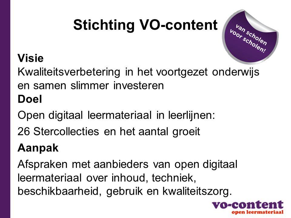 Stichting VO-content Visie Kwaliteitsverbetering in het voortgezet onderwijs en samen slimmer investeren Doel.