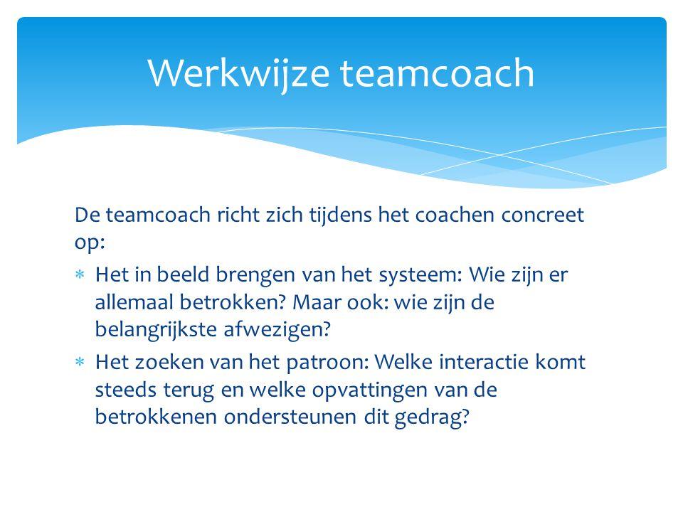 Werkwijze teamcoach De teamcoach richt zich tijdens het coachen concreet op: