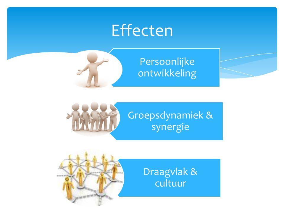 Effecten Persoonlijke ontwikkeling Groepsdynamiek & synergie