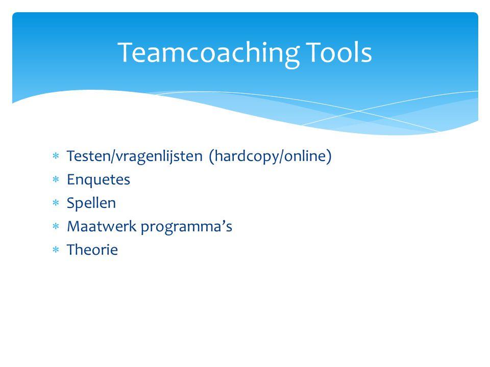 Teamcoaching Tools Testen/vragenlijsten (hardcopy/online) Enquetes