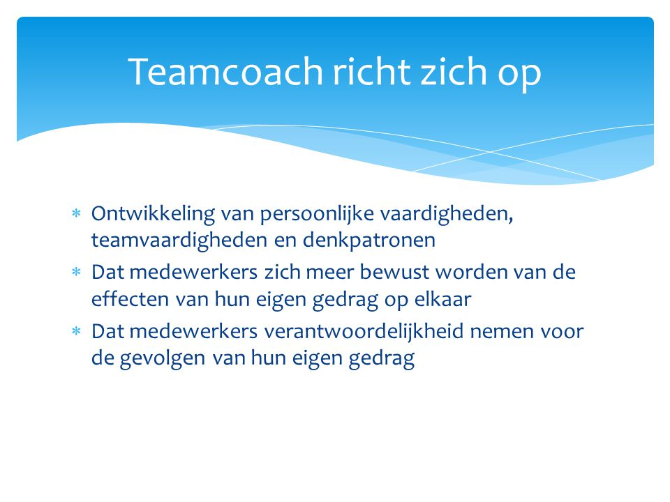 Teamcoach richt zich op
