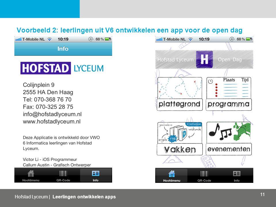 Voorbeeld 2: leerlingen uit V6 ontwikkelen een app voor de open dag