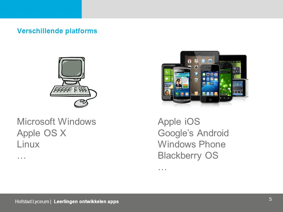 Microsoft Windows Apple OS X Linux … Apple iOS Google's Android