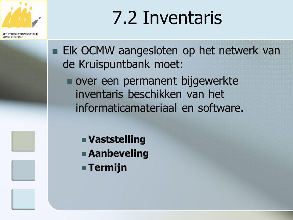 7.2 Inventaris Elk OCMW aangesloten op het netwerk van de Kruispuntbank moet: