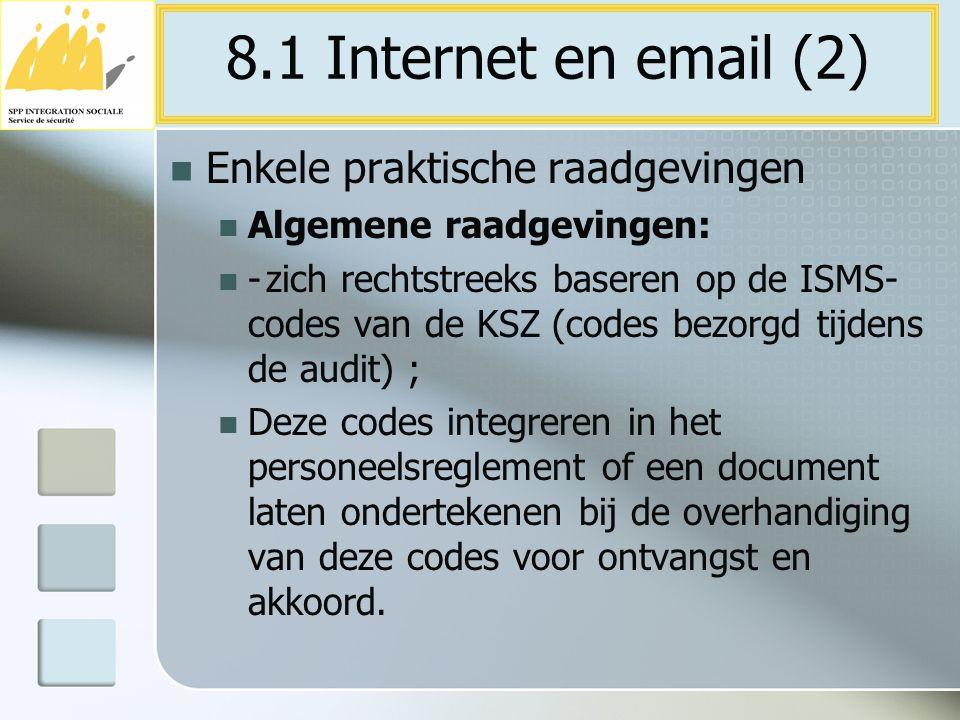8.1 Internet en email (2) Enkele praktische raadgevingen