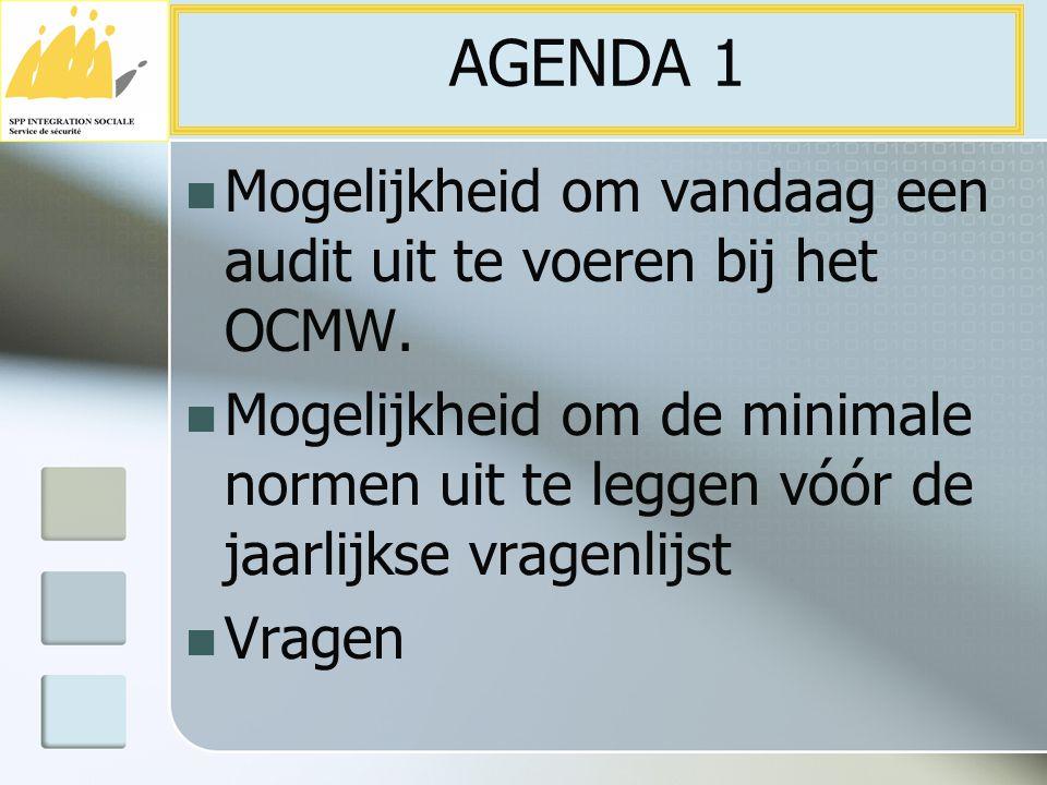 AGENDA 1 Mogelijkheid om vandaag een audit uit te voeren bij het OCMW.