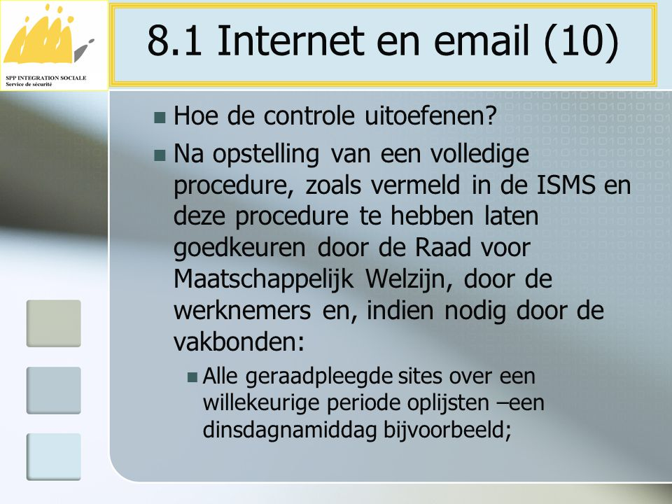 8.1 Internet en email (10) Hoe de controle uitoefenen