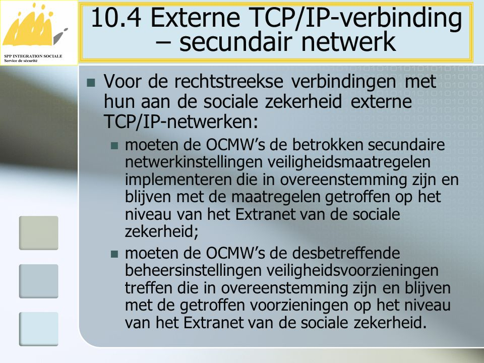 10.4 Externe TCP/IP-verbinding – secundair netwerk