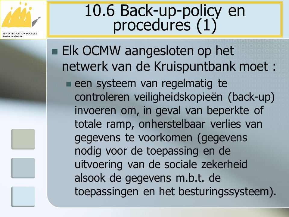 10.6 Back-up-policy en procedures (1)