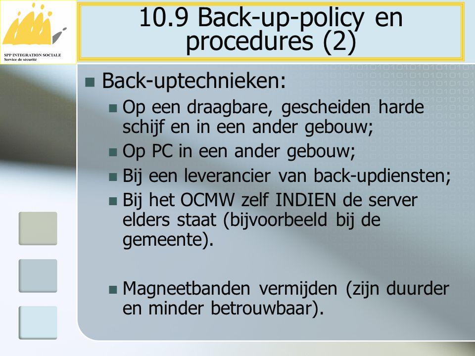 10.9 Back-up-policy en procedures (2)