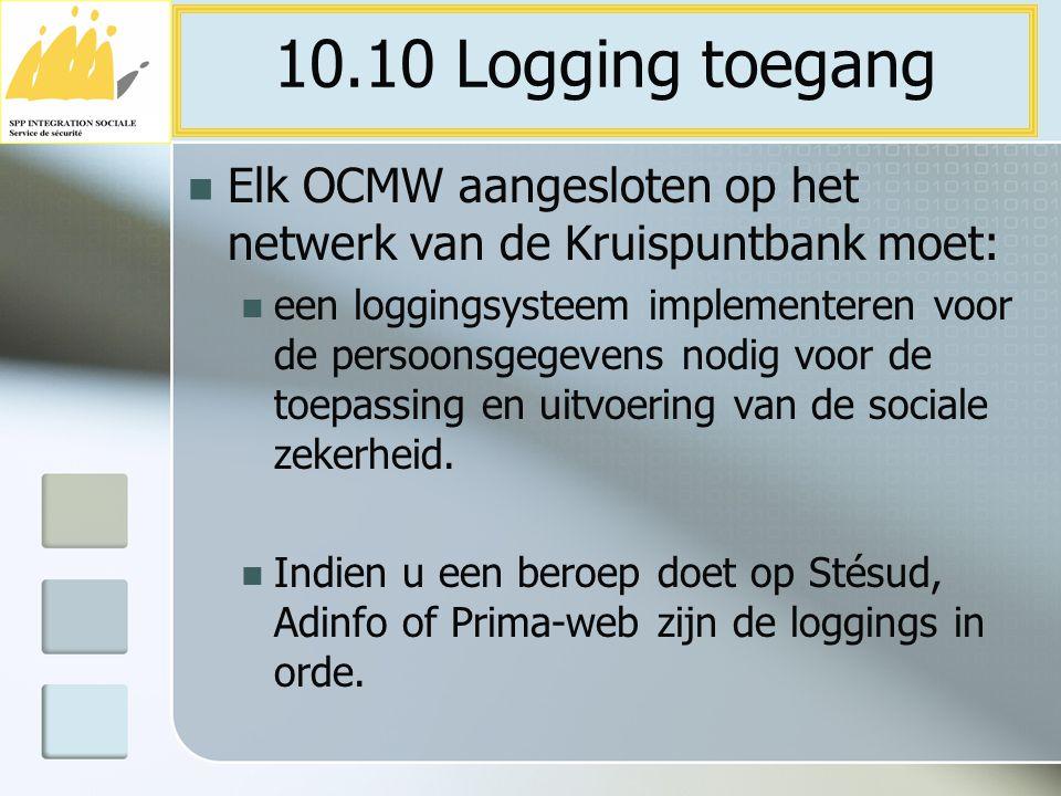 10.10 Logging toegang Elk OCMW aangesloten op het netwerk van de Kruispuntbank moet: