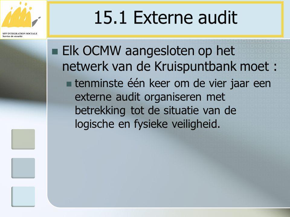 15.1 Externe audit Elk OCMW aangesloten op het netwerk van de Kruispuntbank moet :