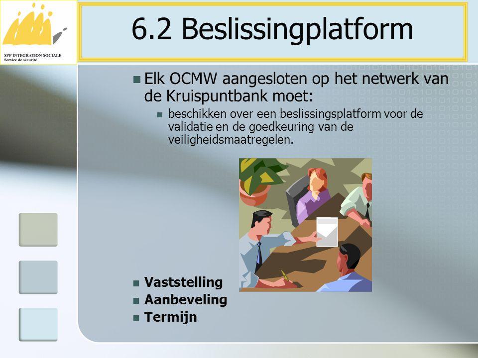 6.2 Beslissingplatform Elk OCMW aangesloten op het netwerk van de Kruispuntbank moet: