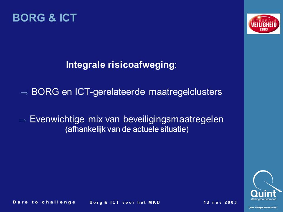 BORG & ICT Integrale risicoafweging: