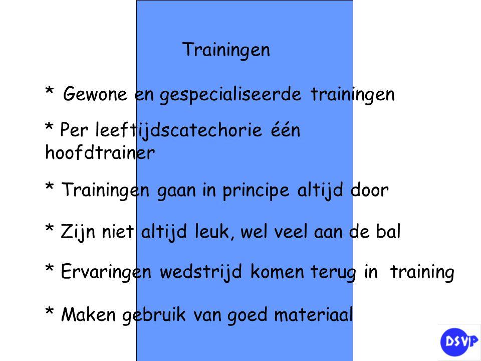 Trainingen * Gewone en gespecialiseerde trainingen. * Per leeftijdscatechorie één hoofdtrainer. * Trainingen gaan in principe altijd door.