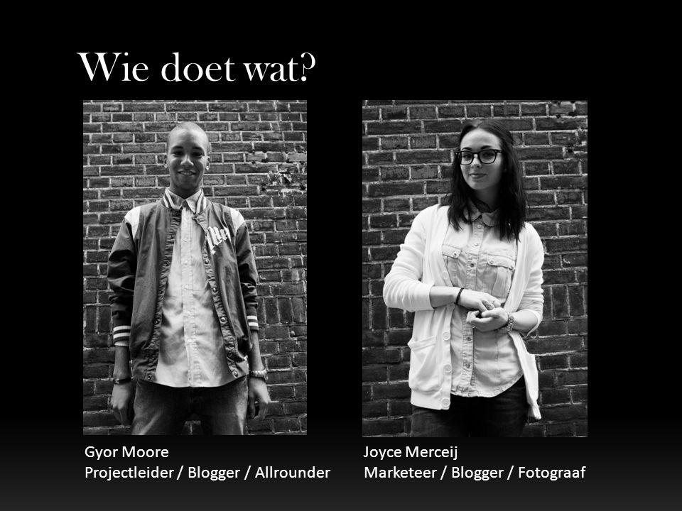 Wie doet wat Gyor Moore Projectleider / Blogger / Allrounder