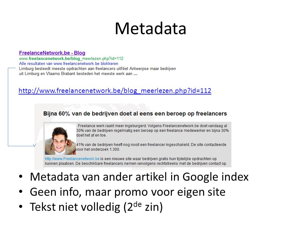 Metadata Metadata van ander artikel in Google index