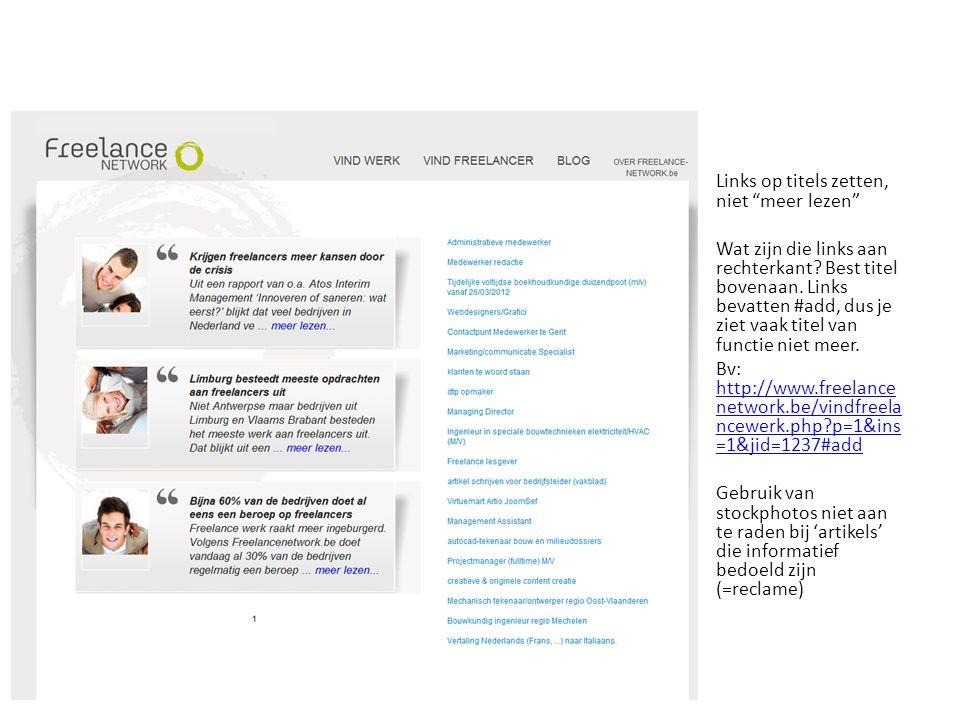 Links op titels zetten, niet meer lezen Wat zijn die links aan rechterkant.