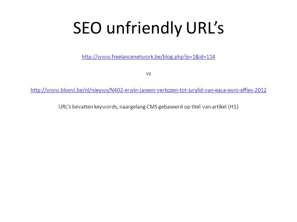 SEO unfriendly URL's
