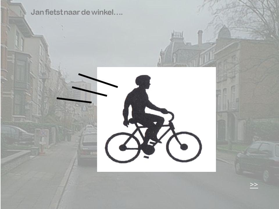 Jan fietst naar de winkel….