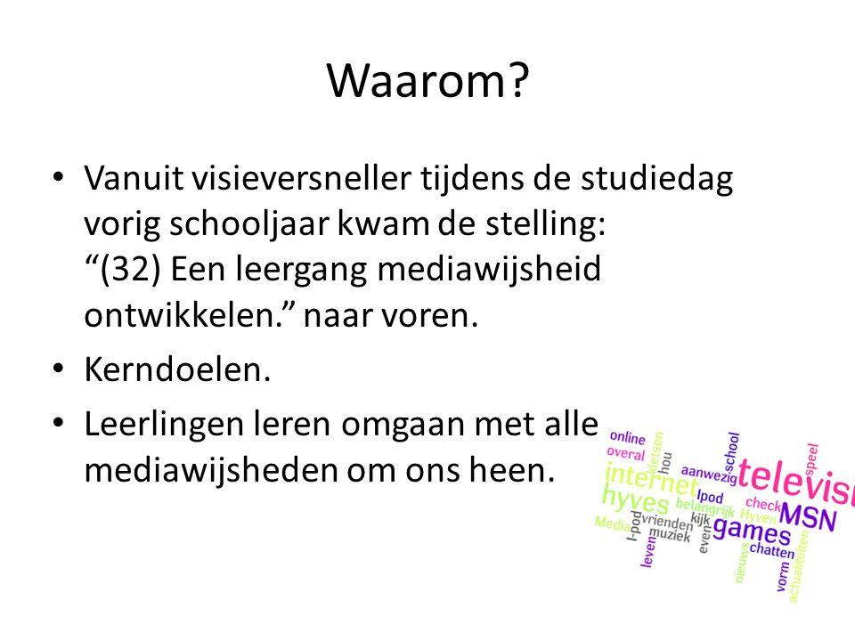 Waarom Vanuit visieversneller tijdens de studiedag vorig schooljaar kwam de stelling: (32) Een leergang mediawijsheid ontwikkelen. naar voren.