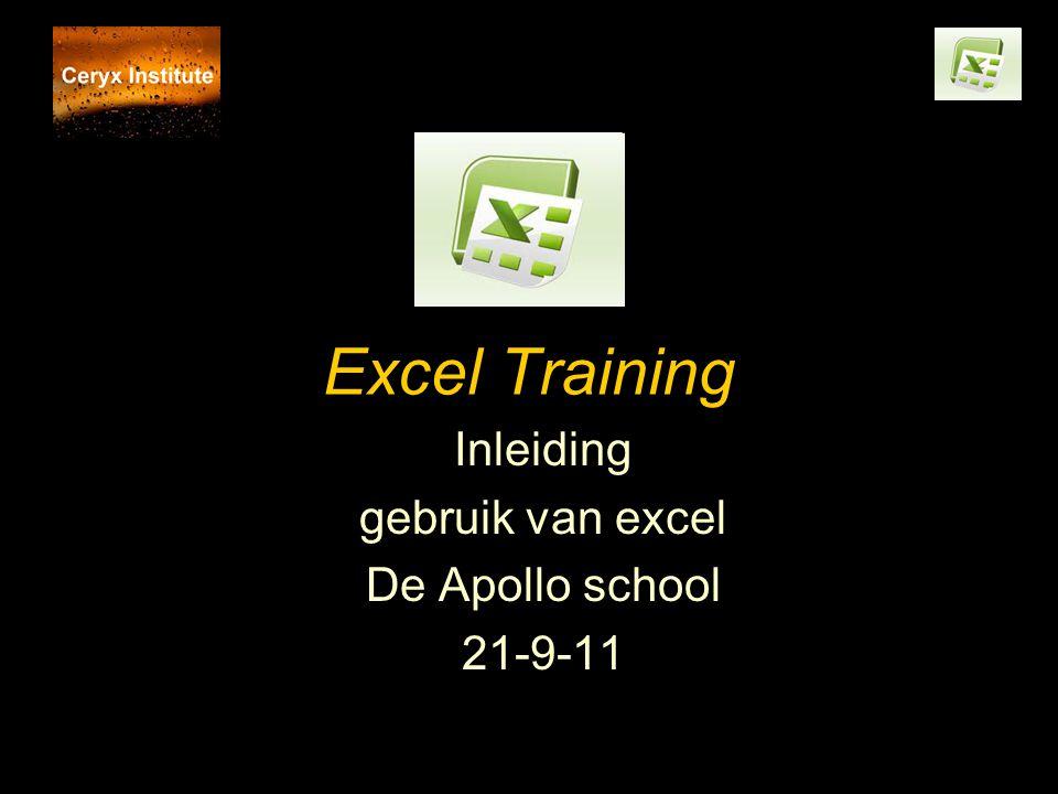 Inleiding gebruik van excel De Apollo school 21-9-11