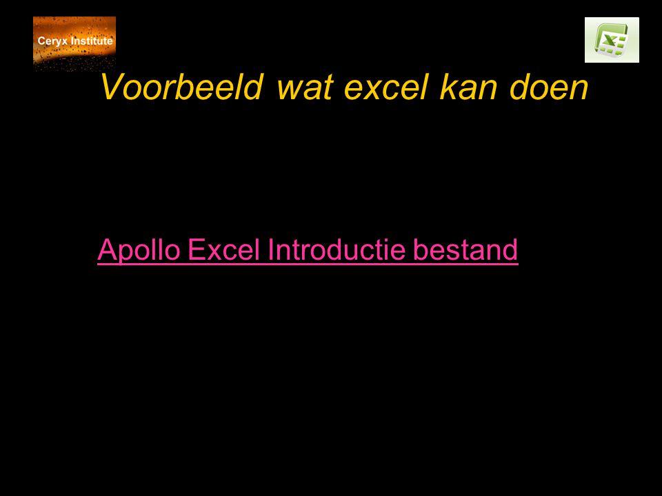 Voorbeeld wat excel kan doen