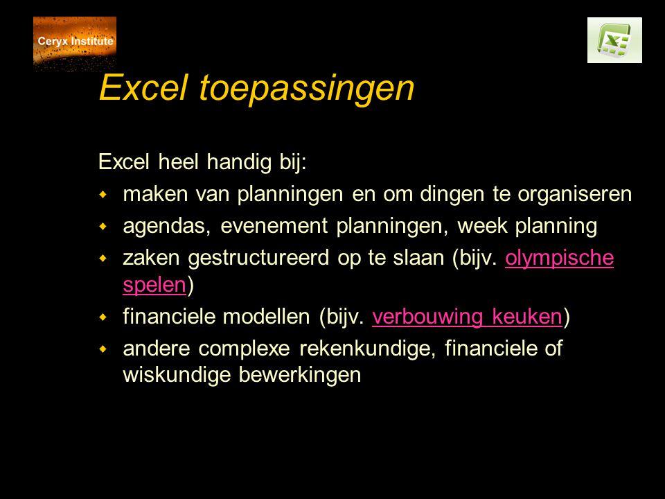 Excel toepassingen Excel heel handig bij: