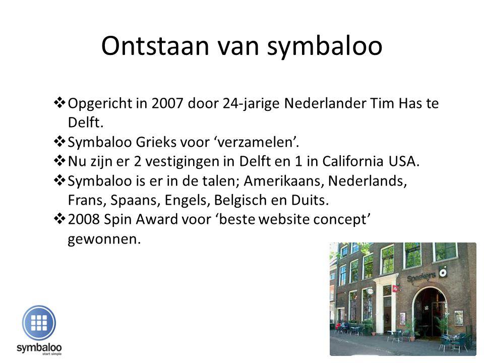 Ontstaan van symbaloo Opgericht in 2007 door 24-jarige Nederlander Tim Has te Delft. Symbaloo Grieks voor 'verzamelen'.