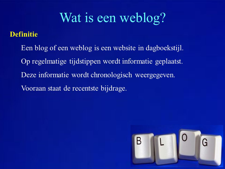 Wat is een weblog Definitie
